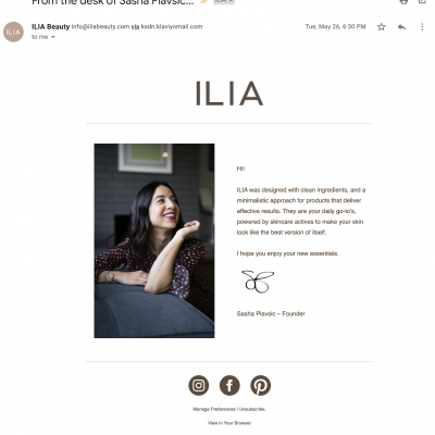 welcome email from ilia beauty founder